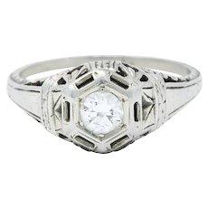 Edwardian 0.25 CTW Diamond 18 Karat White Gold Bombe Engagement Ring
