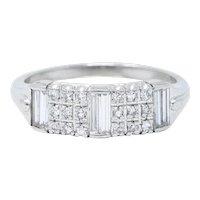 1950's Mid-Century 0.80 CTW Diamond Platinum Band Ring