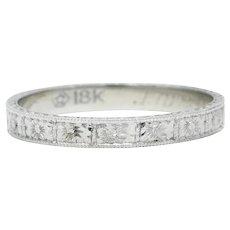 1928 Art Deco 18 Karat White Gold Orange Blossom Eternity Band Ring