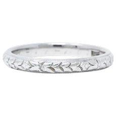 1915 Edwardian 18 Karat White Gold Garland Eternity Band Ring