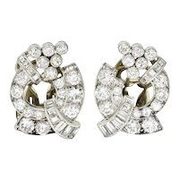 1950's Mid-Century 3.07 CTW Diamond Platinum Ear-Clip Earrings