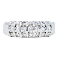 1980's Vintage 1.05 CTW Diamond 14 Karat White Gold Band Ring