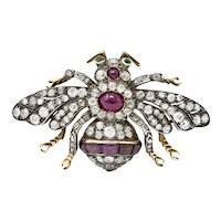 1860's Victorian Spinel Cabochon 6.00 CTW Diamond Silver-Topped 18 Karat Insect Brooch
