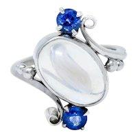 1940's Retro Moonstone Sapphire 14 Karat White Gold Bypass Ring