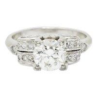 Retro 1.95 CTW Diamond Platinum Scrolled Shoulder Engagement Ring GIA