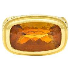 Seidengang Citrine Diamond 18 Karat Gold Gemstone Ring