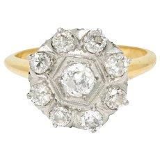 1920's Art Deco 0.80 CTW Diamond Platinum-Topped 14 Karat Gold Cluster Ring