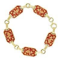 1933 Art Deco Enamel 14 Karat Gold Blossom Link Bracelet