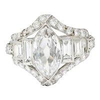 Art Deco 2.70 CTW Marquise Diamond Platinum Band Ring