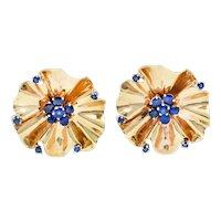 Cartier Retro 1.95 CTW Sapphire 14 Karat Gold Flower Earrings