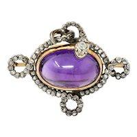 1860's Victorian Diamond Amethyst 18 Karat Gold Silver Snake Lover's Knot Brooch