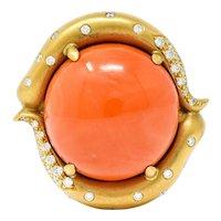 Donald Huber Coral 1.00 CTW Diamond 18 Karat Gold Statement Ring
