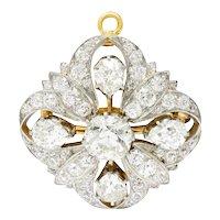 Exceptional Tiffany & Co. 6.05 CTW Diamond Platinum 18 Karat Gold Quatrefoil Pendant Brooch
