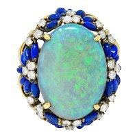 1960's Vintage Opal Lapis Diamond 18 Karat Gold Statement Ring