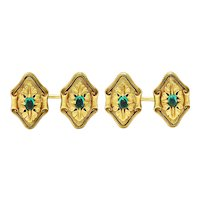 Art Nouveau Diopside 18 Karat Green Gold Foliate Men's Cufflinks