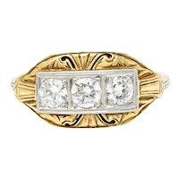 Early Art Deco 0.65 CTW Diamond Platinum-Topped 14 Karat Gold Dinner Ring