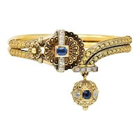 Victorian Etruscan Revival Sapphire Diamond 14 Karat Gold Cuff Bracelet