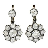 Victorian 3.50 CTW Diamond Silver-Topped 18 Karat Gold Cluster Drop Earrings