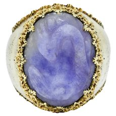 Buccellati 1960's Vintage Lavender Jade 18 Karat Gold Serpent Dragon Cameo Ring