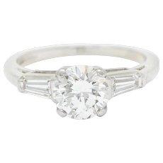 1950's Mid-Century 1.36 CTW Diamond Platinum Engagement Ring