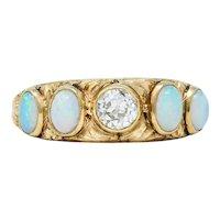 Victorian Opal Diamond 14 Karat Gold Foliate Band Ring