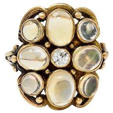1900 Art Nouveau Diamond Jelly Opal 14 Karat Gold Cluster Ring