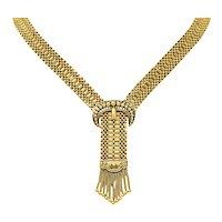 1940's Retro Enamel 14 Karat Gold Crescent Horn Fringe Necklace