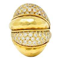 Henry Dunay 3.50 CTW Pave Diamond 18 Karat Gold Cynnabar Statement Ring