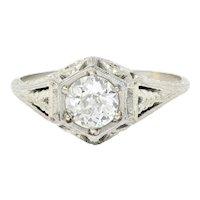 1926 Art Deco 0.76 CTW Diamond 18 Karat White Gold Hexagonal Engagement Ring