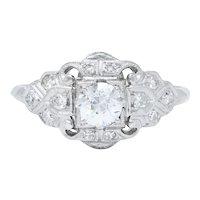 1930's Art Deco 0.72 CTW Diamond Platinum Dinner Ring