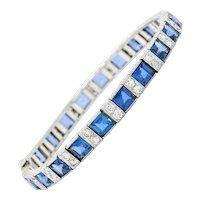 Art Deco 23.60 CTW Sapphire Diamond Platinum Line Bracelet Circa 1930