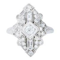 Art Deco Diamond Platinum Geometric Dinner Ring