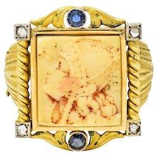 Hindu Sapphire Diamond Carved Bone 22 Karat Gold Lakshmi Goddess Ring