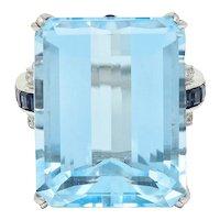 1950's Mid-Century 18.00 CTW Aquamarine Sapphire Diamond 18 Karat White Gold Cocktail Ring