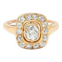 Victorian 1.11 CTW Old Mine Diamond 18 Karat Rose Gold Cluster Ring