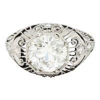 1910 Edwardian 2.45 CTW Diamond Platinum Bombe Engagement Ring