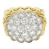 Van Cleef & Arpels 1970's 2.65 CTW Pave Diamond Platinum 18 Karat Gold Band Ring