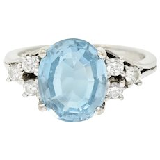 Vintage Blue Topaz Diamond 18 Karat White Gold Gemstone Ring