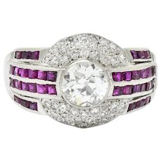 Art Deco 2.87 CTW Diamond Ruby Platinum Unisex Channel Cluster Band Ring GIA