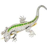 French Edwardian Demantoid Garnet 3.00 CTW Diamond Platinum 18 Karat Gold Lizard Brooch
