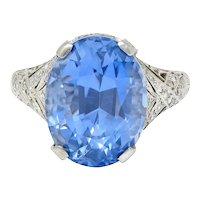 Edwardian 12.02 CTW No Heat Ceylon Sapphire Diamond Platinum Statement Ring GIA