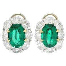 1950's Mid-Century 10.10 CTW Emerald Diamond Platinum 18 Karat Gold Cluster Earrings AGL