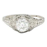 Edwardian 0.95 CTW Diamond Platinum Laurel Foliate Engagement Ring