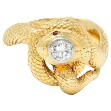 Larter & Sons Diamond Ruby 14 Karat Two-Tone Gold Snake Ring