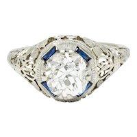 1920's Art Deco 1.76 CTW Diamond Sapphire 18 Karat White Gold Floral Engagement Ring
