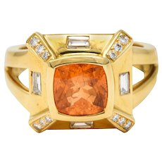 Baskin Bros. 2.50 CTW Orange Sapphire Diamond 18 Karat Gold Gemstone Ring