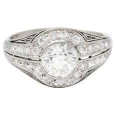 J.E. Caldwell 1.35 CTW Diamond Platinum Bombe Engagement Ring