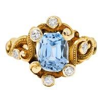 Art Nouveau 2.00 CTW Aquamarine Diamond 14 Karat Gold Whiplash Ring