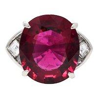 Substantial 13.57 CTW Rubellite Diamond Platinum Statement Ring