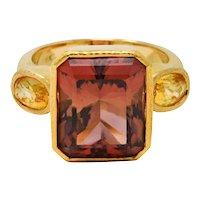 Elizabeth Locke 9.65 CTW Tourmaline Yellow Sapphire 18 Karat Gold Gemstone Ring